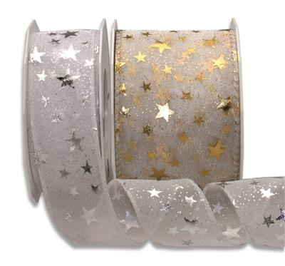 ORION organza with stars 20-m-roll
